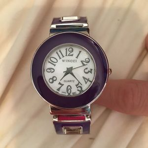 Purple stainless steel watch